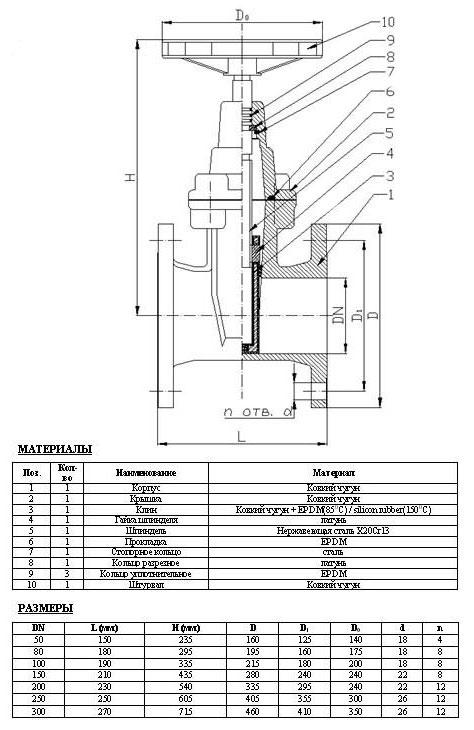 Схема и размеры задвижки с обрезиненным клином 30ч39р